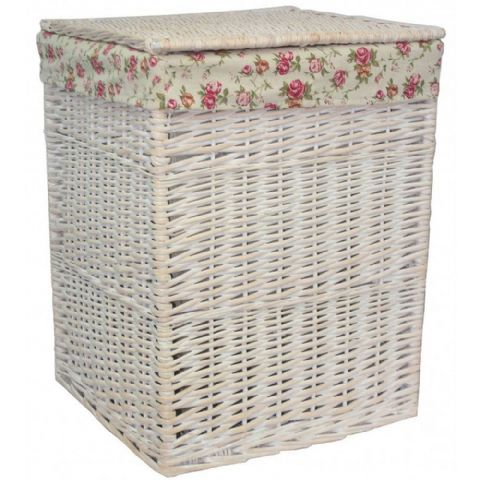New England White Washed Square Wicker Laundry Bin Basket Vintage Large H 61 x W 46cm